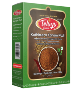 Telugu Foods Kottimeera Karam Podi With Garlic (Coriander Spice Mix) (100 gms)